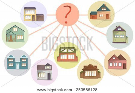 Choosing House, Comparing Property To Buy Or Rent, Vector Concept