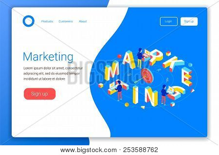 Marketing Isometric Concept. Marketing 3d Word Lettering Typography. Office Workers Send E-mail. Mar