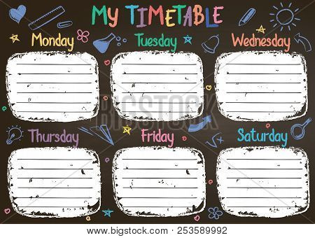 School Timetable Template On Chalk Board  With Hand Written Colored Chalk Text. Weekly Lessons Shedu