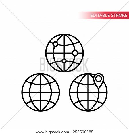 Globe Symbol, Globe With Location Pin Black Outline Icons. Thin Line Globe Icon Set. Editable Stroke
