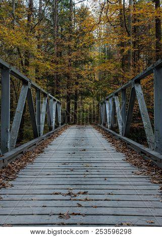 One Lane Bridge In Fall In Cataloochee Valley
