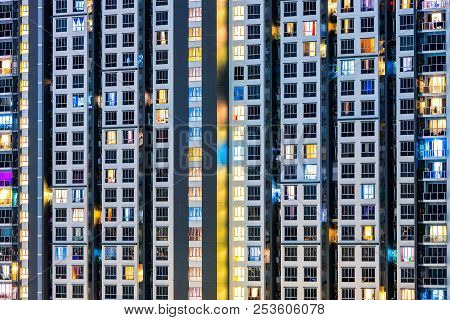 Close Up Architecture Background Of Highrise Condominium Building In Big City Downtown