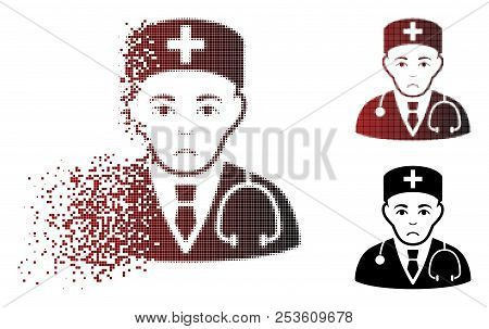 Sadly Physician Icon In Sparkle, Dotted Halftone And Undamaged Solid Versions. Pieces Are Organized