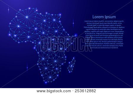 Africa Map Of Polygonal Futuristic Mosaic Lines Network, Rays And Dots Vector Illustration.