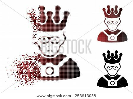 Pitiful Thailand King Icon In Dispersed, Dotted Halftone And Undamaged Whole Variants. Pieces Are Ar