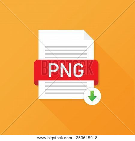 Download PNG button. Downloading document concept. File with PNG label and down arrow sign. Vector stock illustration. poster