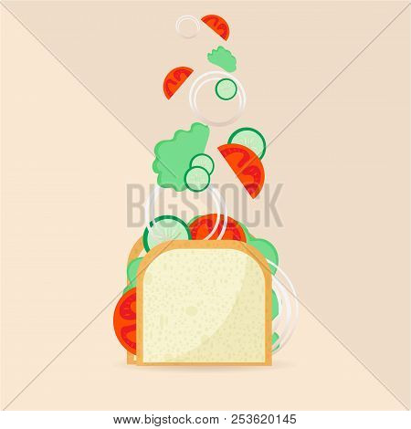 Sandwitch Vector Illustration Vegan Components No Meat Sandwitch For Heathcare Diet. For Web And Pri