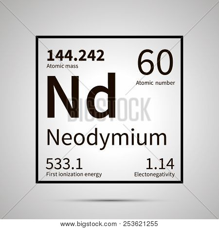 Neodymium chemical element with first ionization energy, atomic mass and electronegativity values , simple black icon with shadow poster