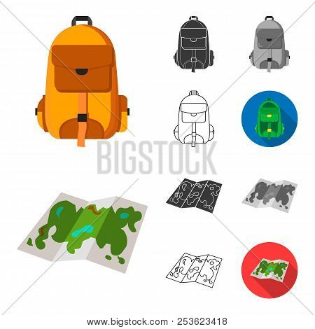 Rest In The Camping Cartoon, Black, Flat, Monochrome, Outline Icons In Set Collection For Design. Ca