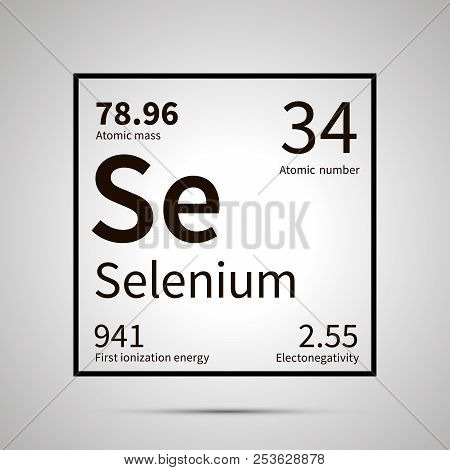 Selenium Chemical Element With First Ionization Energy, Atomic Mass And Electronegativity Values , S