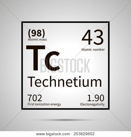 Technetium chemical element with first ionization energy, atomic mass and electronegativity values , simple black icon with shadow poster