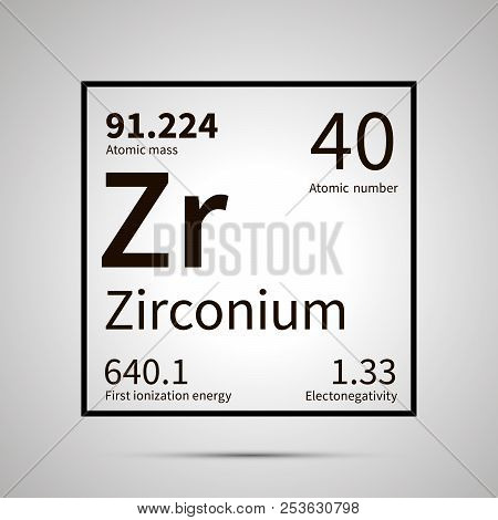 Zirconium chemical element with first ionization energy, atomic mass and electronegativity values , simple black icon with shadow poster