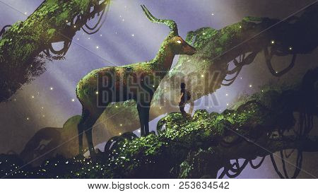 Young Hiker Found Giant Deer Statue Covered With Moss And Lichen While Traveling In The Forest, Digi