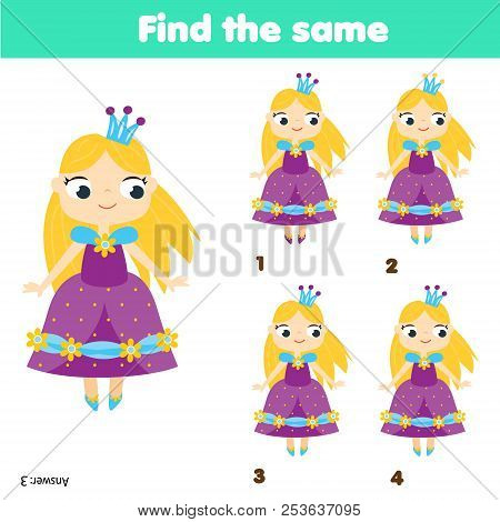 Find The Same Pictures Children Educational Game. Find Two Identical Princess