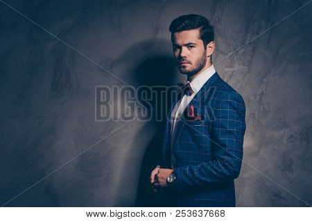 Half Turned Faced Nice Good-looking Imposing Attractive Gentleman Looking At Camera Clothed In Check