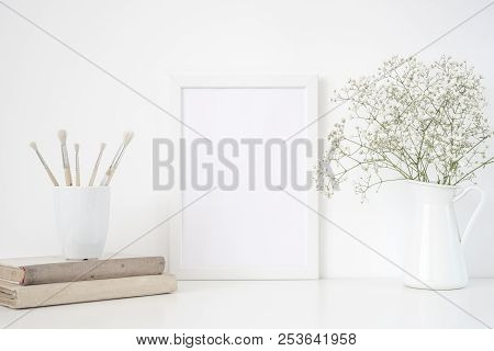 White Frame Mockup A4 In Interior. Frame Mock Up Background For Poster Or Photo Frame For Social Med