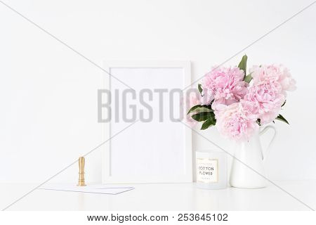 White A4 Blank Frame Mockup. Still Life Composition, Floral Bouquet Of Pink Peonies In Jug, Gold Sta