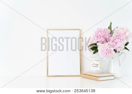 Elegant Gold Portrait A4 Frame Mock Up With A Pink Peonies In White Jug. Overlay Your Quote, Promoti
