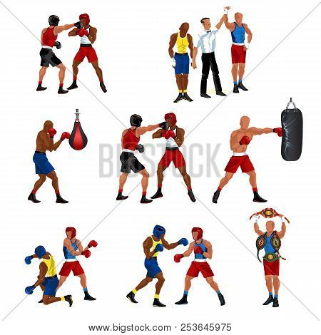 Box Flat Set Consist Of Sparring Referee Announces Victory Boxer Punching Bag Knockdown And Professi