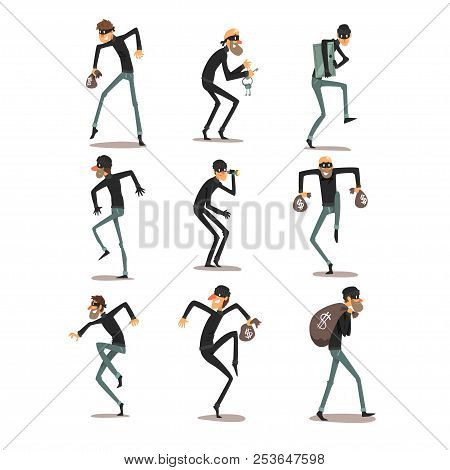Male Thief In Mask Set, Robber Cartoon Characters Committing Crimes Vector Illustrations On A White