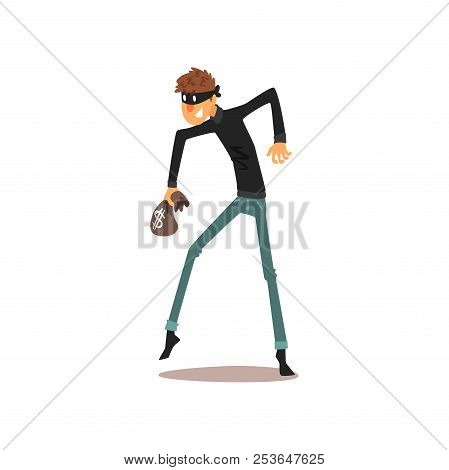 Male Thief In Mask With Small Money Bag, Robber Cartoon Character Committing Crime Vector Illustrati