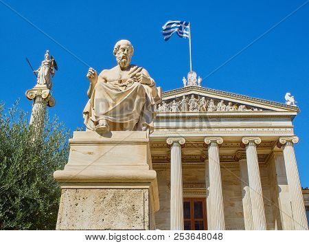 Athens, Greece - June 30, 2018. The Academy Of Athens, Greece National Academy, With The Athena Stat