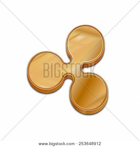 Golden Ripple Coin Symbol Isolated Web Vector Icon. Ripple Coin Trendy 3d Style Vector Icon. Raised
