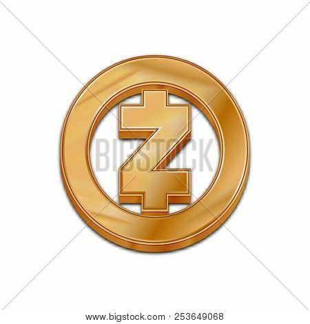 Golden Zcash Coin Symbol Isolated Web Vector Icon. Zcash Coin Trendy 3d Style Vector Icon. Raised Sy