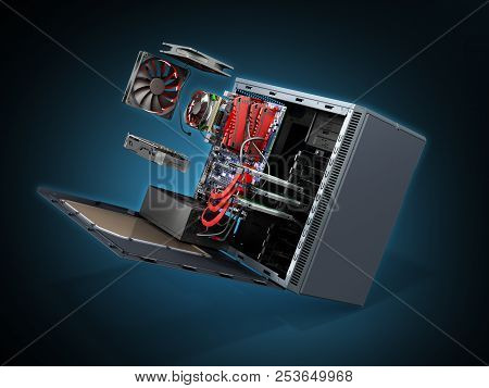 Open Pc Case With Internal Parts Motherboard Cooler Video Card Power Supply Hdd Drives 3d Render On