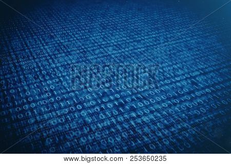 3d Illustration Binary Code On Blue Background. Bytes Of Binary Code. Concept Technology. Digital Bi