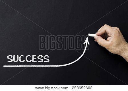Growing Success Concept. Businessman Draw Accelerating Line Of Improving Success