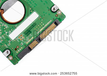Hard drive isolated on white background. HDD. Major components of a 3.5-inch SATA hard disk drive: platter, spindle, actuator, actuator arm. Disk head above the plates poster