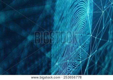 3d Illustration Fingerprint Scan Provides Security Access With Biometrics Identification. Concept Fi