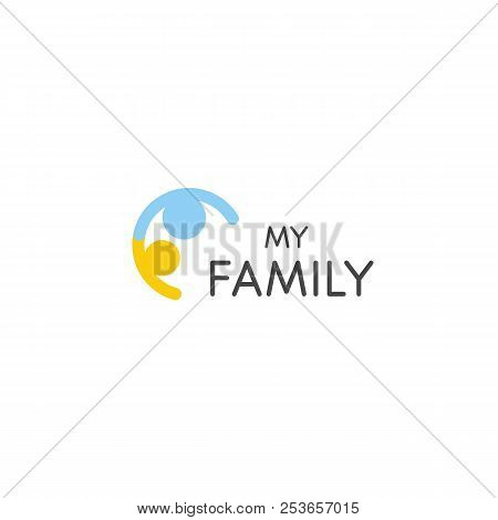 Relationship Vector Icon. One Parent And Children Abstract Sign. Family Logo Template. People Counci