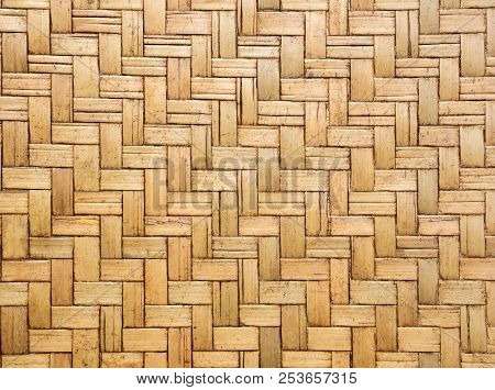 Close Up Image Of Traditional Wicker Surface Texture Pattern For Use As Background, Handcraft Weave