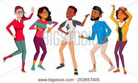 Dancing People Set Vector. People Dance. Move To Music. Isolated Flat Cartoon Illustration