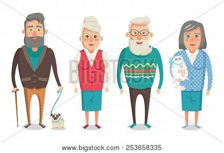 Grandparents Collection, Granny Holding Kitty, Granddad With Stick Walking Dog, Grandma And Grandpa