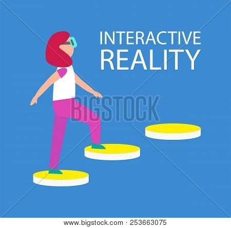 Interactive Reality Connection Of Woman And Technologies, Walking Up Stair, Yellow Steps, Lady Weari