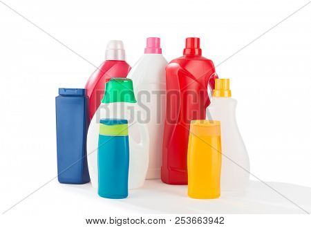 Colorful Cleaning Products Isolated