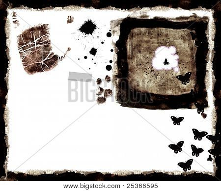 grunge background with  textures, fingerprints and  ink drops