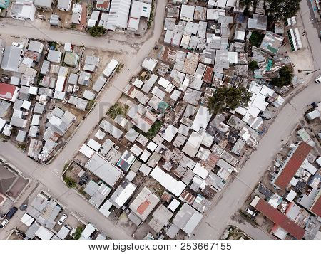 Aerial View Over Poor Township In South Africa