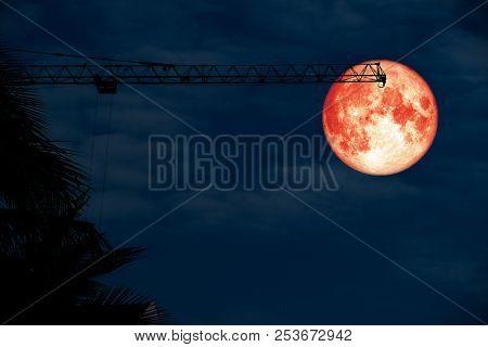 Full Blood Moon Back Over Silhouette Crane Blue Cloud