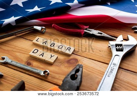 Usa Labor Day Concept, First Monday In September. Different Kinds On Wrenches, Handy Tools, America