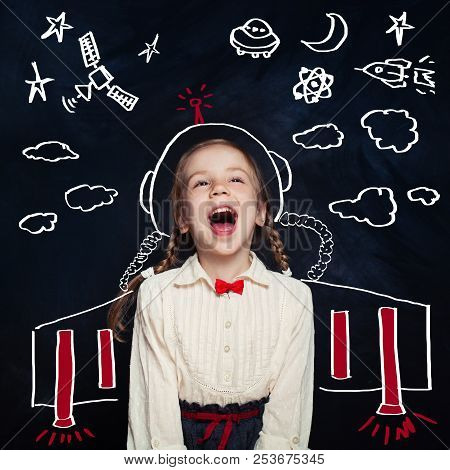 Creativity Education With Child Girl Astronaut. Kids Inspiration In Successful Education With Creati