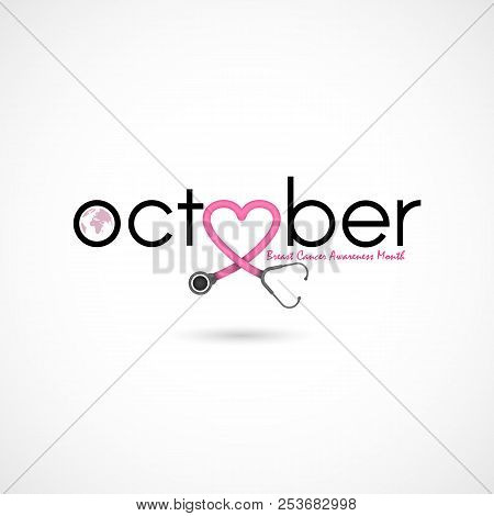Breast Cancer October Awareness Month Campaign Background.women Health Vector Design.breast Cancer A