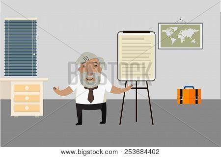 Professor-historian In The Room. Flip Chart. Animated Character.. Vector Illustration. Cartoon Chara