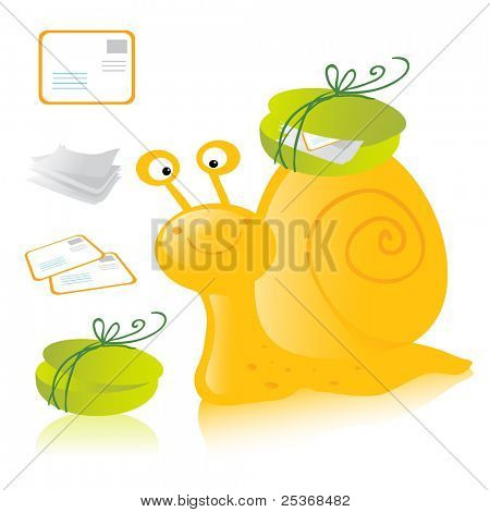 cartoon happy snail mail delivering letters, postcards and messages. Vector illustration isolated on white