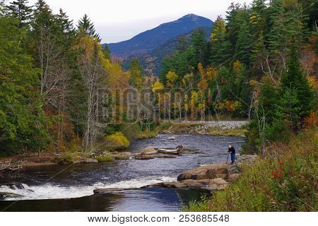 Fall / Autumn Leaf Foliage Around The Ausable River In The Adirondack Mountains Of Upstate New York.