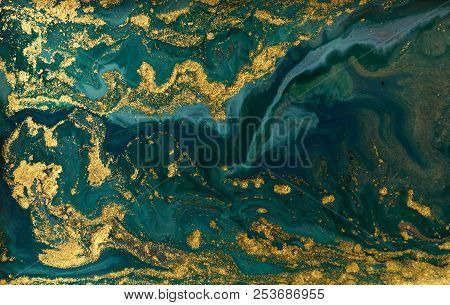 Green Marble Abstract Acrylic Background. Marbling Artwork Texture. Agate Ripple Pattern. Gold Powde