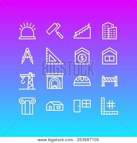 Vector Illustration Of 16 Construction Icons Line Style. Editable Set Of Ruler, Fireplace, Security
